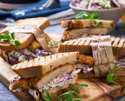 Pork Tenderloin Schnitzel (Snitty) Sandwich with Slaw