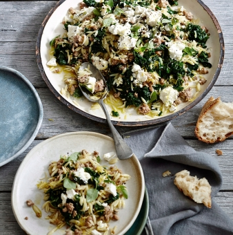 ORZO WITH PORK, SPINACH AND FETA