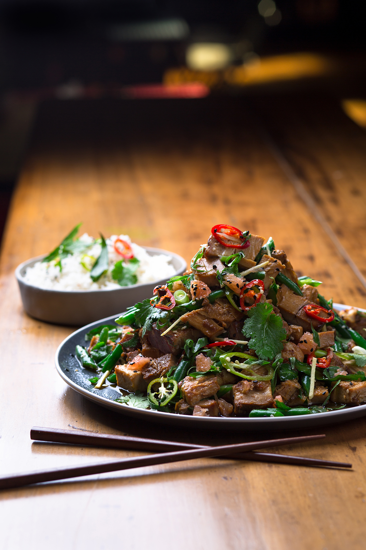 Honey & Ginger Candied Pork Belly Stir Fry with Green Bean Pomelo Salad